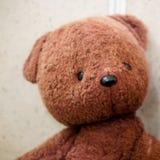 Oud stuk speelgoed - de uitstekende bruine pluche draagt Portret Ondiepe Diepte van Gebied stock afbeelding
