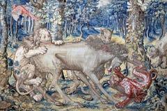 Oud tapijtwerk op de muur van het Paleis op het Eiland Isola Bella Italy royalty-vrije stock foto
