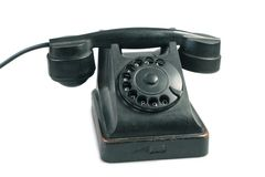 Oud telefoontoestel dat op wit wordt geïsoleerdt Stock Fotografie