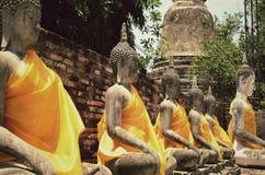 Oud Tempel en Standbeeld Boedha van Ayutthaya Thailand Royalty-vrije Stock Foto's