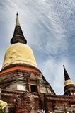 Oud Tempel en Standbeeld Boedha van Ayutthaya Thailand Stock Foto's