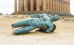 Oud tempelverdrag, Vallei van tempels, Agrigento, Sicilië Stock Foto