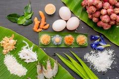 oud Thais Dessert, Thais zoet dessert en ingrediënt in kom stock afbeeldingen