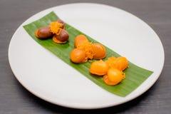 oud Thais Dessert, Thais zoet dessert en ingrediënt in kom royalty-vrije stock afbeeldingen