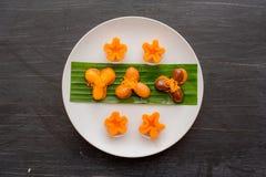oud Thais Dessert, Thais zoet dessert en ingrediënt in kom stock foto's