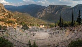 Oud theater in Delphi, Griekenland royalty-vrije stock foto