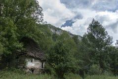 Oud traditioneel Roemeens huis in het bos Stock Afbeelding