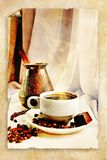Oud Turkije en kop van koffie, Royalty-vrije Stock Afbeeldingen