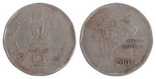 Oud twee Indisch Roepiemuntstuk Royalty-vrije Stock Foto's