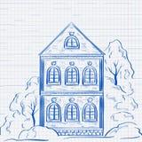 Oud two-storey huis met bomen Hand getrokken schets Stock Fotografie