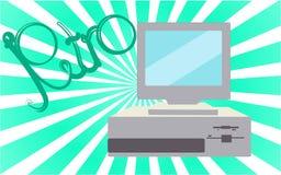 Oud, uitstekend, retro, hipster, antiquiteit, disco, grijze, heldere, mooie computer met floppy op een achtergrond van groene gra vector illustratie