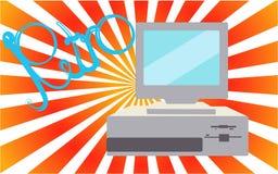 Oud, uitstekend, retro, hipster, antiquiteit, disco, grijze, heldere, mooie computer met floppy op een achtergrond van groene ora stock illustratie
