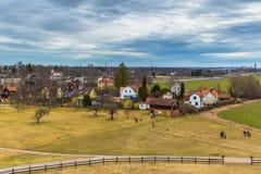 Oud Uppsala - April 08, 2017: Viking-graven van Oud Uppsala, Swe royalty-vrije stock fotografie