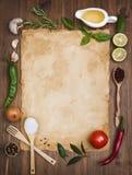 Oud van de receptennota concept als achtergrond Royalty-vrije Stock Foto's