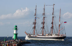 Oud varend schip in Hansesail 2014 (04) Stock Foto's