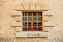 Oud venster met bar royalty-vrije stock foto's