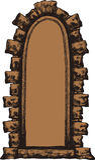 Oud venster met een steenoverwelfde galerij, hand-trekt Vectorillustrati Royalty-vrije Stock Afbeeldingen