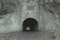 Oud verlaten militair fort in het bos Stock Foto