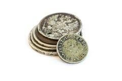 Oud verliep muntstukken Bulgaarse muntstukken en zilveren muntstukken Stock Afbeeldingen