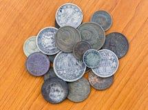 Oud verliep muntstukken De muntstukken van de USSR en zilveren muntstukken Stock Foto