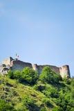 Oud versterkt kasteel van Vlad Tepes in Roemenië Stock Foto
