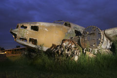 Oud vliegtuigwrak Stock Afbeelding