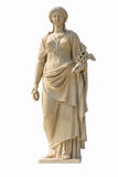 Oud vrouwenstandbeeld op witte achtergrond royalty-vrije stock foto