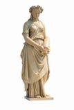 Oud vrouwenstandbeeld op witte achtergrond royalty-vrije stock afbeeldingen