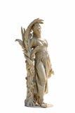Oud vrouwenstandbeeld op witte achtergrond stock foto's