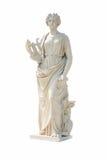 Oud vrouwenstandbeeld op witte achtergrond stock afbeelding