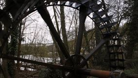 Oud Watermolenwiel in Limburg stock video