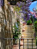 Oud well-kept huisdetail in een Mediterraan talent met gele natuursteentrap en het bloeien wisteria royalty-vrije stock foto