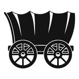 Oud westelijk behandeld wagenpictogram, eenvoudige stijl stock illustratie