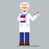 Oud wetenschapperkarakter die glazen en laboratoriumlaag met pen dragen Stock Afbeeldingen