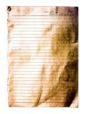Oud wit gevoerd geïsoleerd document Stock Foto's