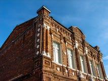 Oud woonhuis van 19de eeuw in de stad Medyn (Kaluga-gebied, Rusland) Stock Foto