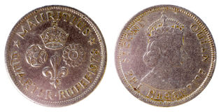 Oud zeldzaam muntstuk van Mauritius Stock Fotografie