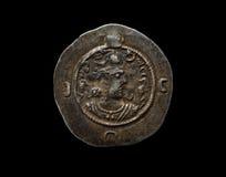 Oud zilveren die Sassanian-muntstuk op zwarte wordt geïsoleerd Royalty-vrije Stock Afbeeldingen