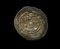 Oud zilveren die Sassanian-muntstuk op zwarte wordt geïsoleerd Royalty-vrije Stock Foto's