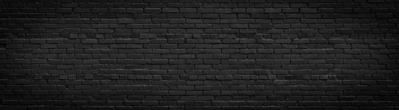 Oud zwart bakstenen muurpanorama Royalty-vrije Stock Afbeelding
