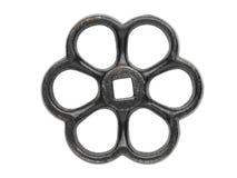 Oud zwart handwiel op wit Royalty-vrije Stock Foto's