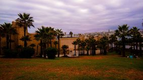 Oudaya utanför, Hassan Tower Fotografering för Bildbyråer