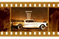 Oude 35mm frame foto met de V.S. retro auto Royalty-vrije Stock Foto's