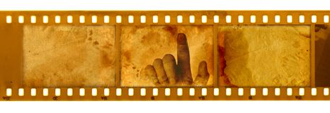 Oude 35mm frame foto met hand Royalty-vrije Stock Foto's