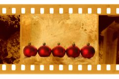 Oude 35mm frame foto met Kerstmisballen Royalty-vrije Stock Foto