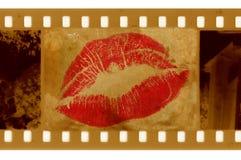 Oude 35mm frame foto met lippen Stock Afbeelding