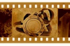 Oude 35mm frame foto met medaille en lint Royalty-vrije Stock Foto's