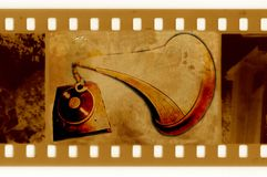 Oude 35mm frame foto met oude grammofoon Stock Fotografie