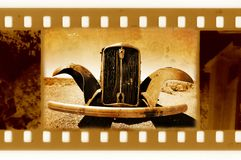 Oude 35mm frame foto met retro auto Royalty-vrije Stock Fotografie
