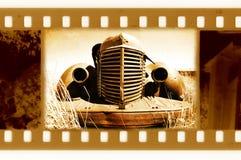 Oude 35mm frame foto met retro auto Stock Foto